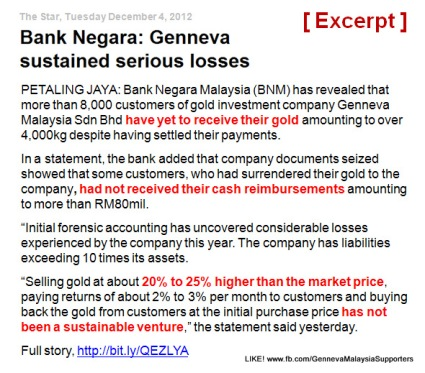 Bank Begara: Genneva sustained serious losses (excerpt)